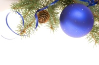 Blue Christmas Bulb with greenery 001