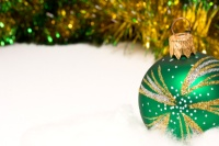 Green Christmas Bulb and gold garland 002