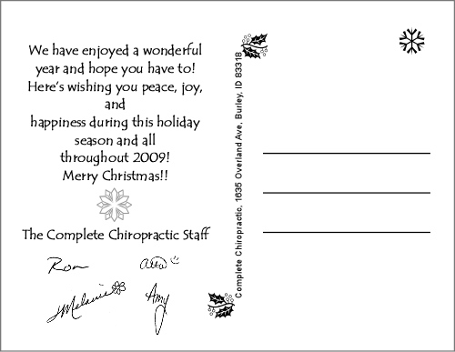 Unique holiday greetings for chiropractor office completechiropracticpcardxmas4x5baki4b m4hsunfo