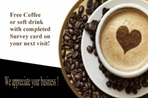 coffee shop business opinion card