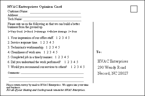 Hvac Business Customer Satisfaction Questionnaire